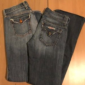 Collection of two pairs of fashion jeans.